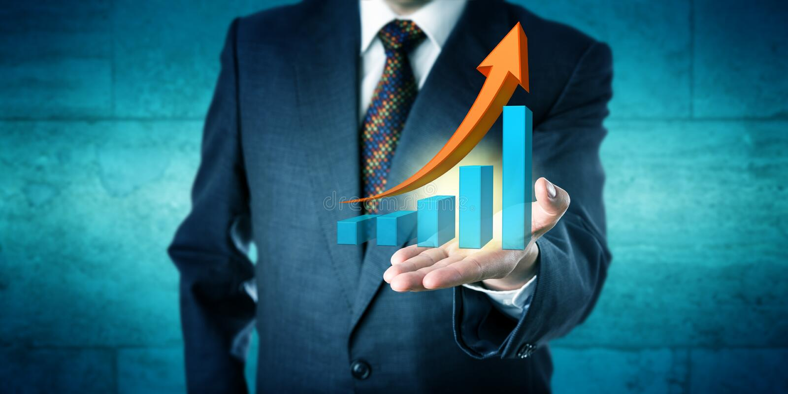 Manager Offers Exponential Growth Trend Forecast stock photography