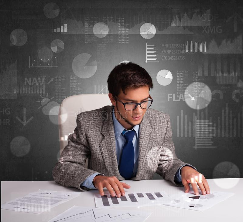 Manager at the office making reports and statistics with blackboard background stock photo