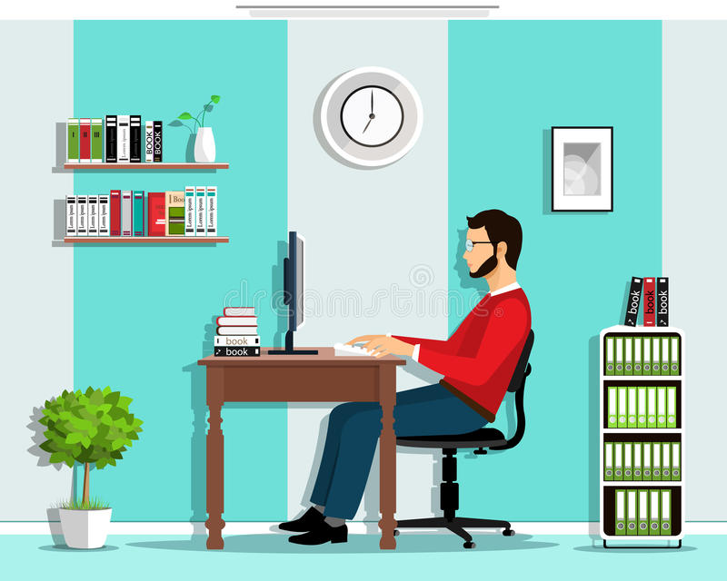 Manager in the office. Vector flat style set: man working in office, sitting at desk, looking at computer screen. vector illustration