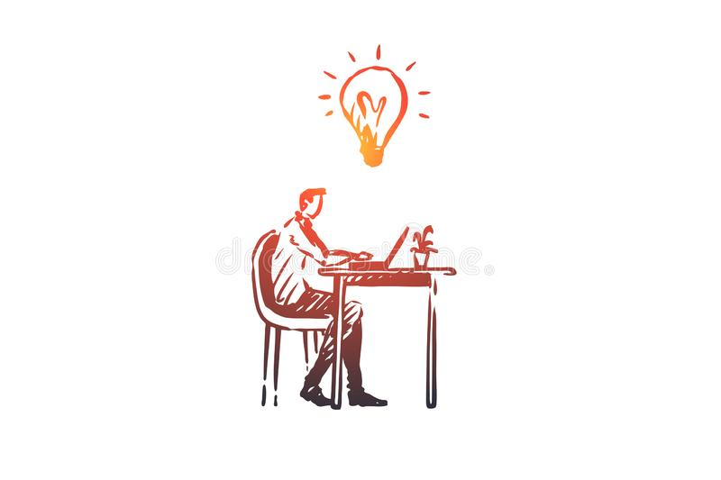 Manager, office, work, person, computer concept. Hand drawn isolated vector. royalty free illustration