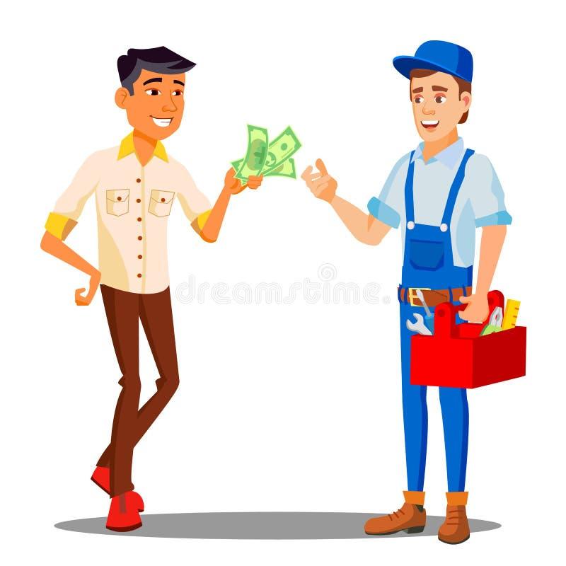 Manager-Paying Money To-Schlosser-For The Work erfolgter Vektor Getrennte Abbildung lizenzfreie abbildung