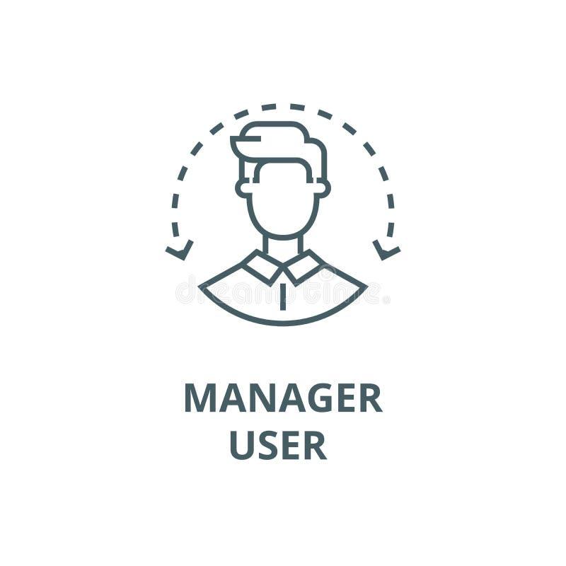 Manager, personeel, pictogram van de gebruikers het vectorlijn, lineair concept, overzichtsteken, symbool stock illustratie