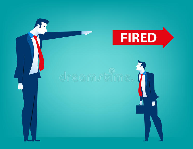 Manager pointing fired at businessman. Losing a job. Unemployed. People. Concept business illustration. Vector flat stock illustration