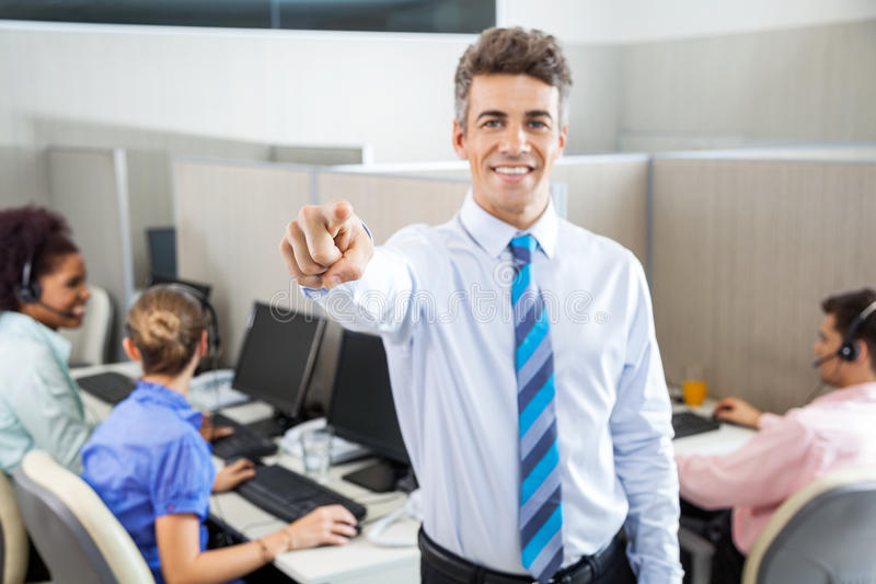 Manager Pointing At You In Call Center stock photography