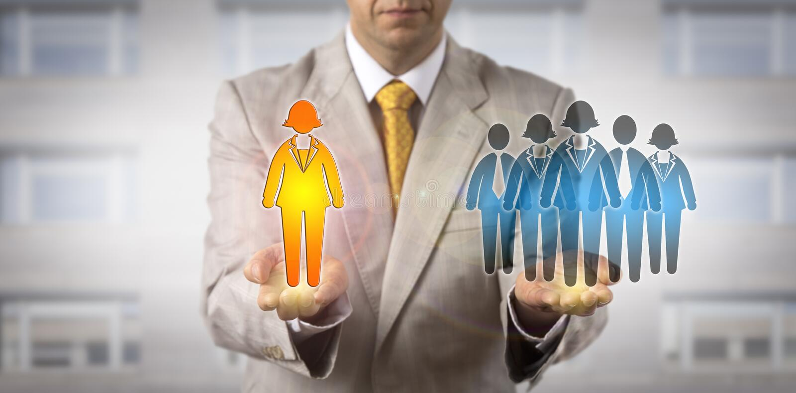 Manager Presenting Female Leader To Work Team stock photos