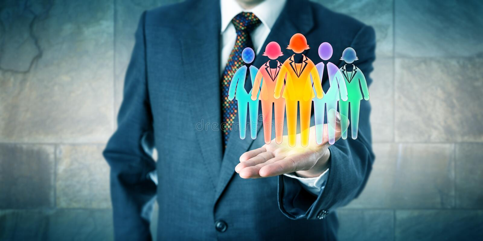 Manager Presenting Work Team Of Five In Palm stock photography