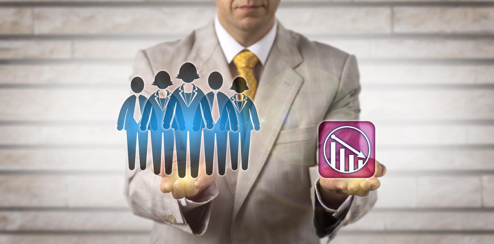 Manager Projecting Downward Trend For Work Team. Unrecognizable manager projecting downward trend for a work team. Human resources management concept for royalty free stock photo