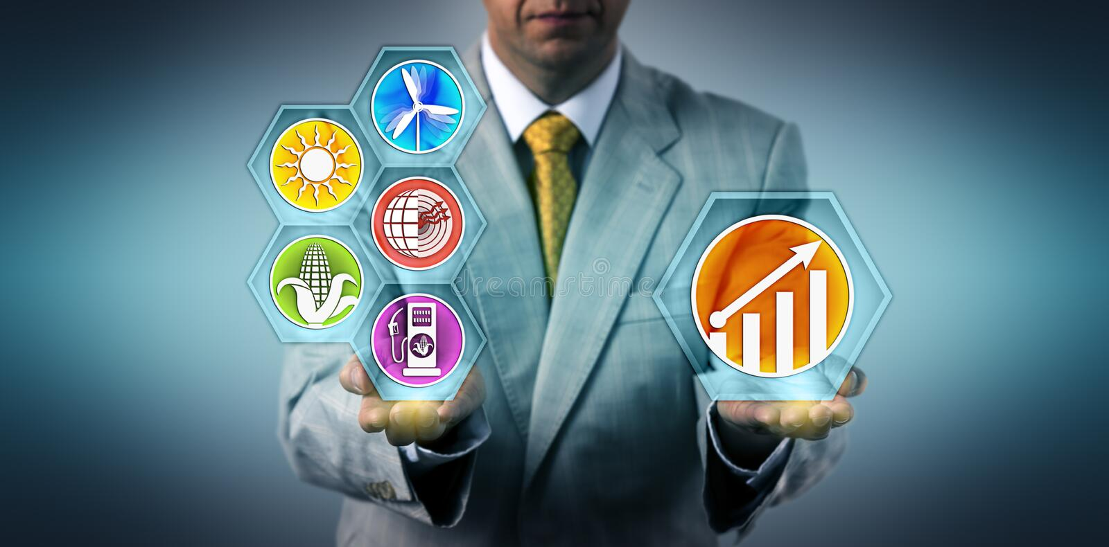 Manager Projecting Growth For Renewable Resources royalty free stock image