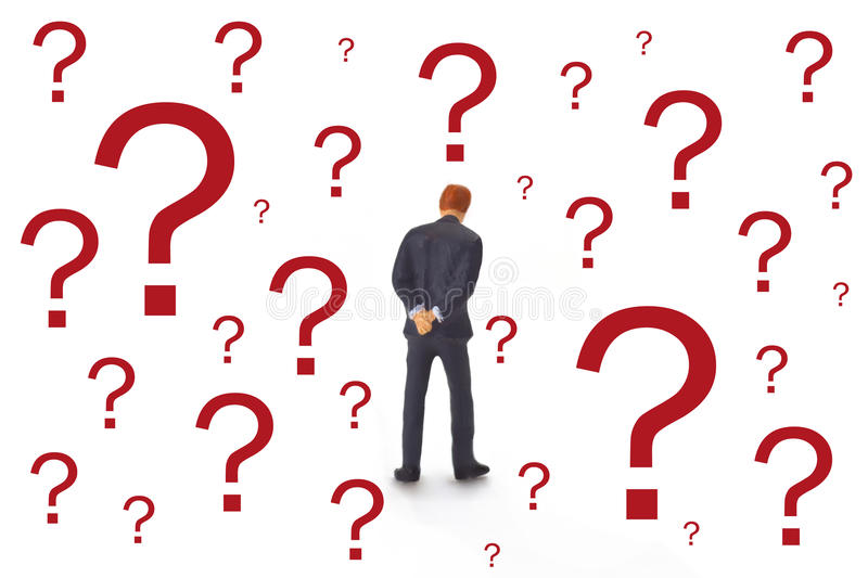 Manager with question mark. Figurine from Manager with question mark on bright background stock image