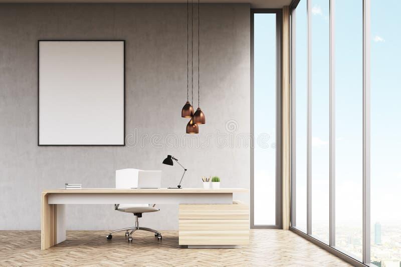 Manager` s bureau met ontworpen affiche stock illustratie