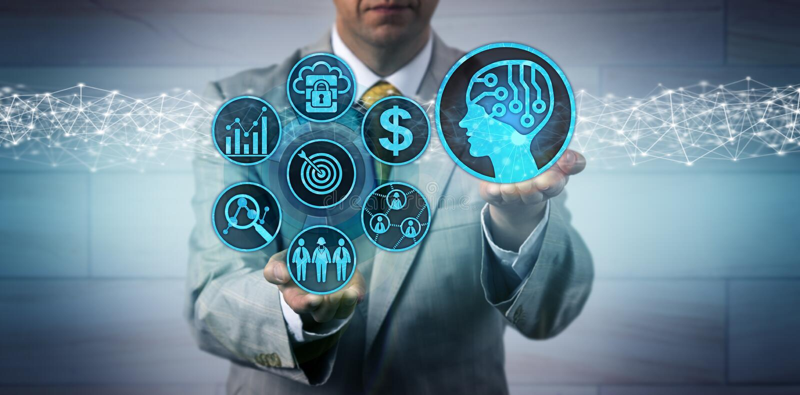 Manager Scaling Up Sales en Marketing via AI App royalty-vrije stock fotografie