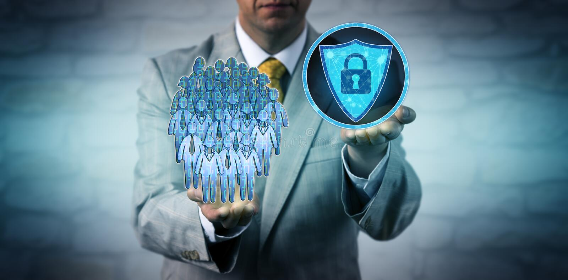 Manager Scanning Workforce Data Via Anti-Malware stock photo