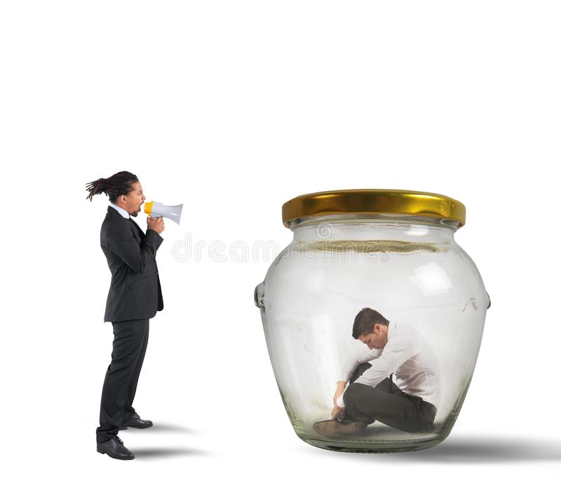 Manager scolds and humiliates. A company employee stock photography