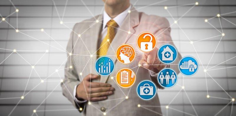 Manager Securely Accessing SIE über AI im Netz lizenzfreie stockbilder