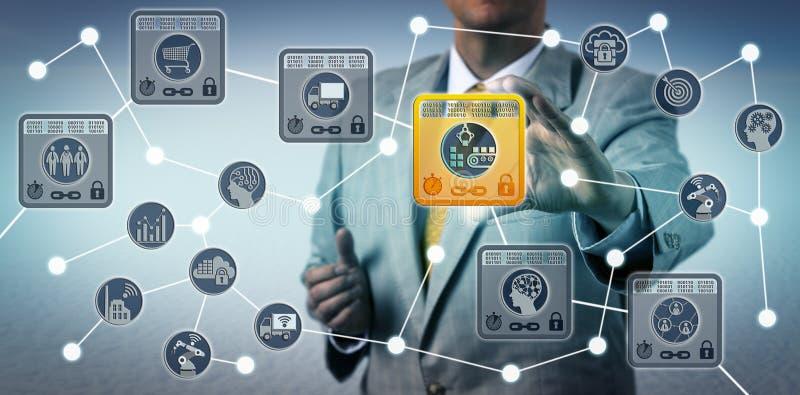 Manager Securing Data Integrity der Versorgungskette lizenzfreie stockbilder