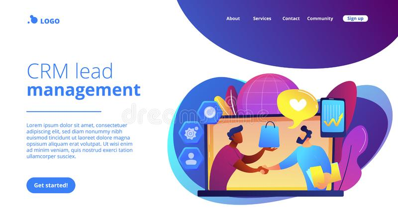 Customer Relationship Management concept landing page. Manager shakes hands with customer, strategy for interactions with client. Customer relationship vector illustration