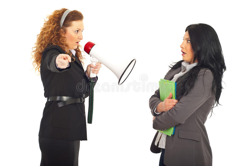 Manager Shouting Employee Into Megaphone Stock Image