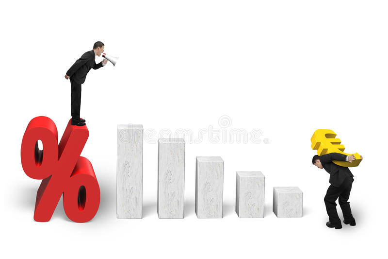 Manager shouting on percentage mark employee carrying euro sign. Manager using speaker shouting on percentage mark, employee carrying euro sign, with 3D growing stock image
