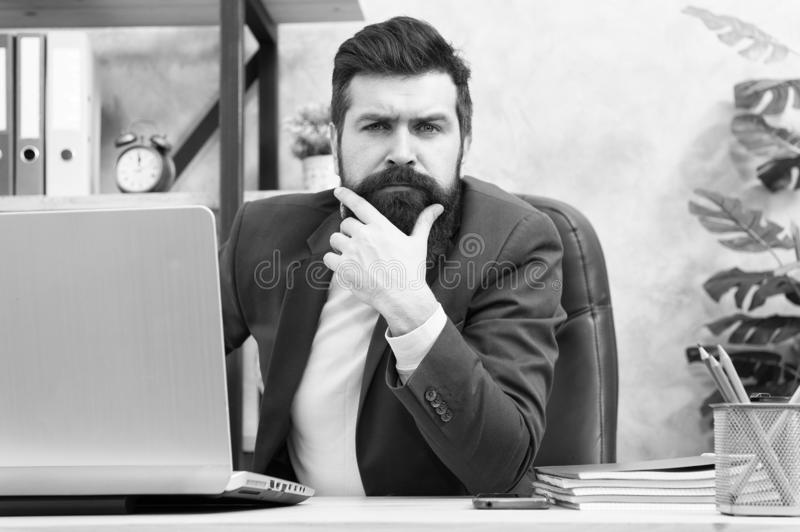 Manager solving business problems. Businessman in charge of business solutions. Developing business strategy. Risky. Business. Thinking about main goal. Man stock photography