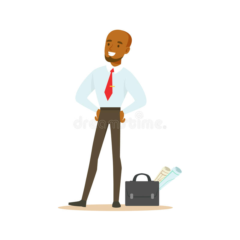 Manager With Suitcase And Project Papers, Business Office Employee In Official Dress Code Clothing Busy At Work Smiling royalty free illustration