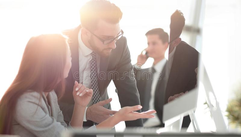 Manager talking with an employee stock photos