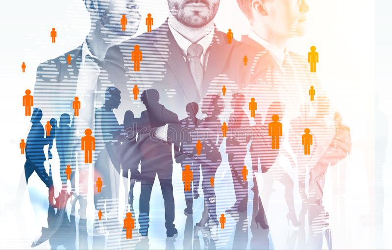 Manager team and staff, global people network royalty free illustration