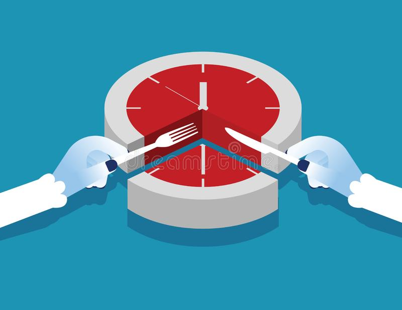 Manager and time slice. Concept business vector illustration. Flat character style stock illustration