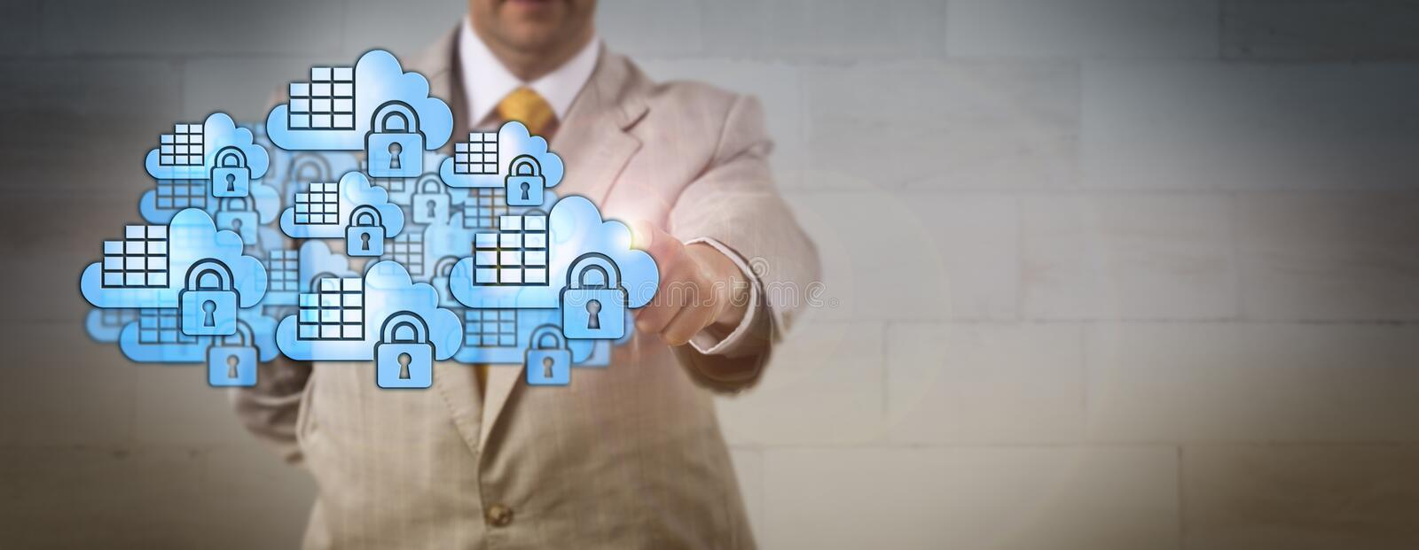 Manager Touching Crowd Of Secure Cloud Containers. Unrecognizable database manager touching a crowd of secure cloud container icons. Internet and IT concept for stock photos