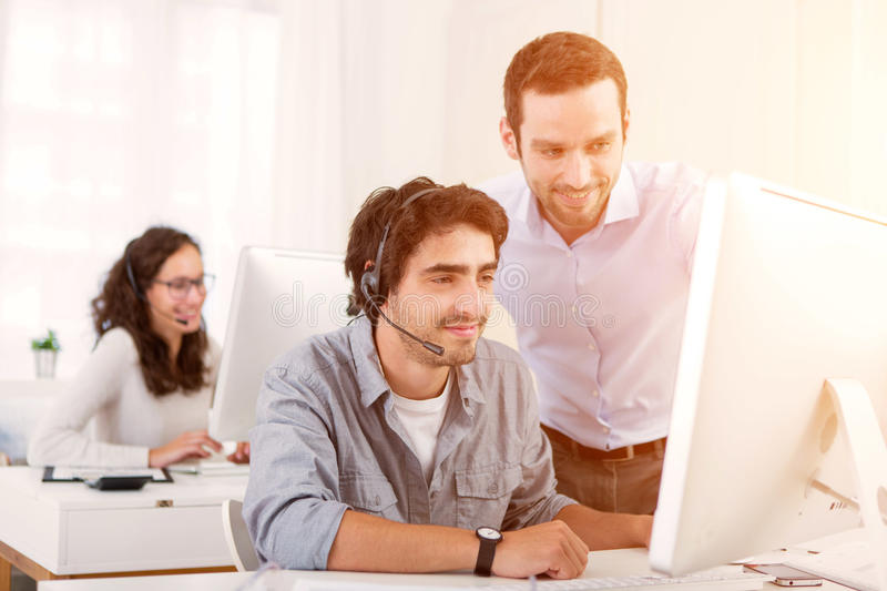 Manager training young attractive people stock photography