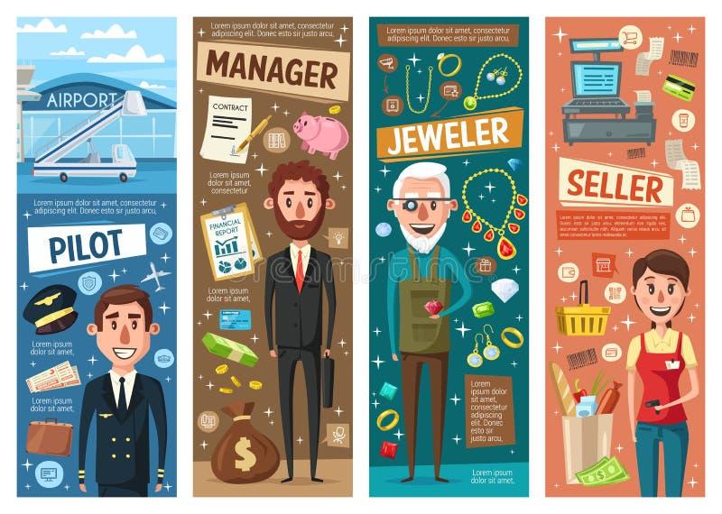 Manager-, Verkäufer-, Pilot- und Juwelierberufe stock abbildung