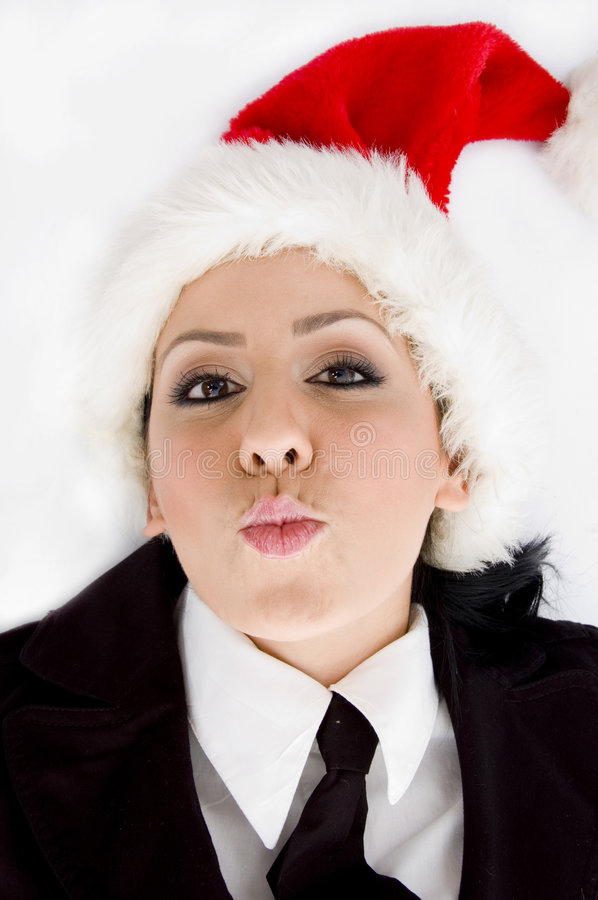 Download Manager Wearing Christmas Hat Stock Image - Image: 7363283
