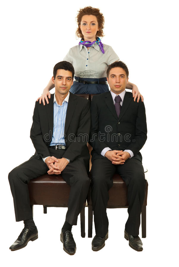 Manager woman with businessmen royalty free stock photo