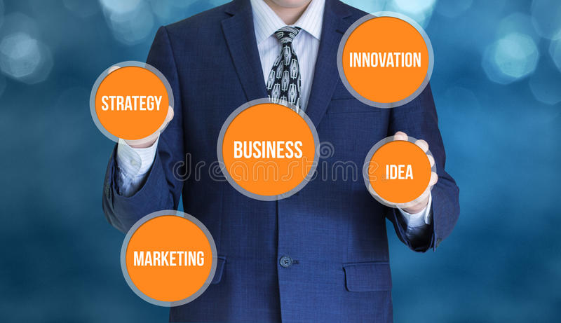 Manager works with the business scheme. Manager works with the business scheme concept design royalty free stock photo