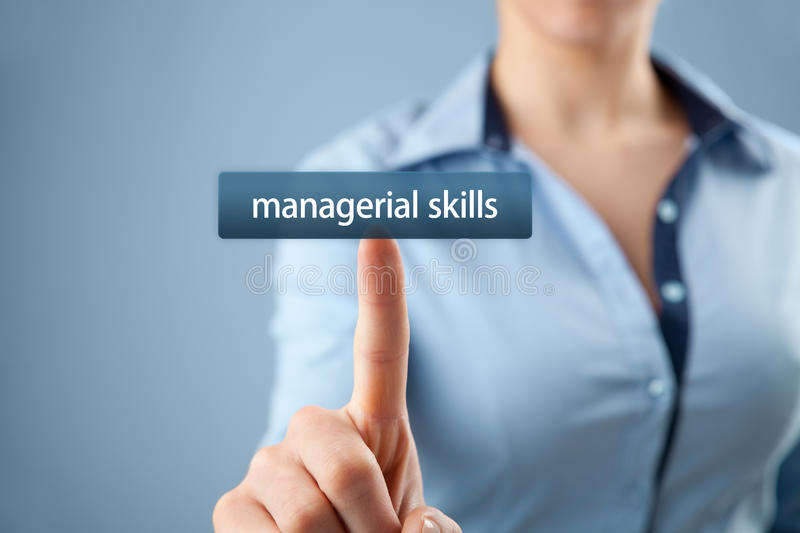 Managerial skills. (human skills, technical skills, conceptual skills) training concept - woman click on button to purchase  course stock photography