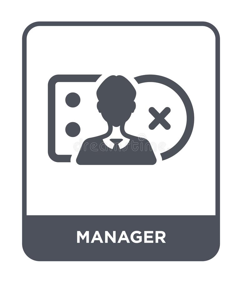managerpictogram in in ontwerpstijl Managerpictogram op witte achtergrond wordt geïsoleerd die eenvoudige en moderne vlakke symbo stock illustratie