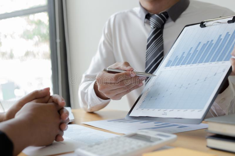Managers and accountants have checked the company`s finances. In order to prepare the performance measurement for the past 5 year stock photography