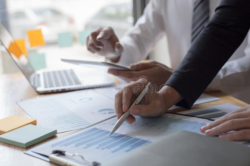 Managers and accountants have checked the company`s finances. In order to prepare the performance measurement for the past 5 year. S to prepare and evaluate the stock photo