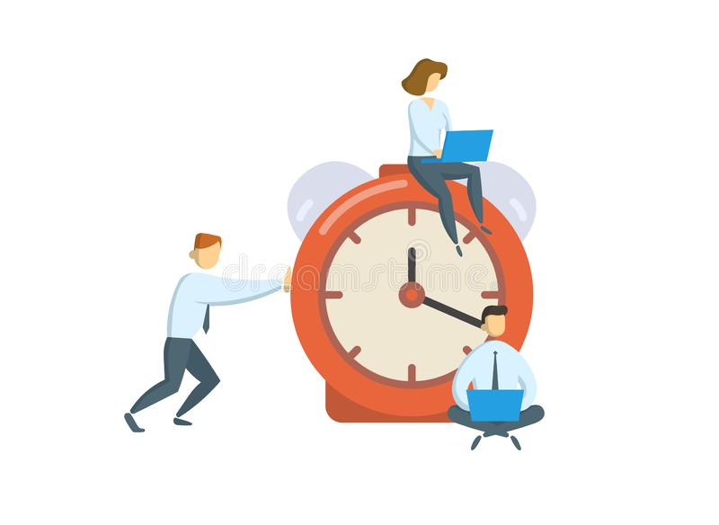 Managers around big alarm clock. Business, office time concept. Flat vector illustration. Isolated on white background. Managers around big alarm clock vector illustration
