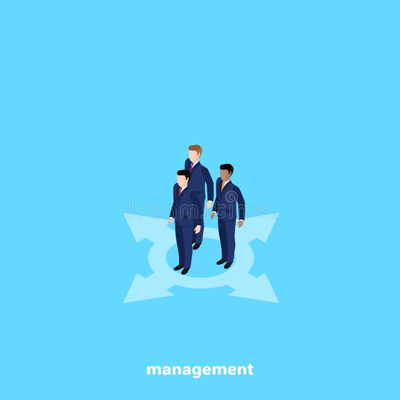 Managers in business suits on a blue background. Isometric image vector illustration