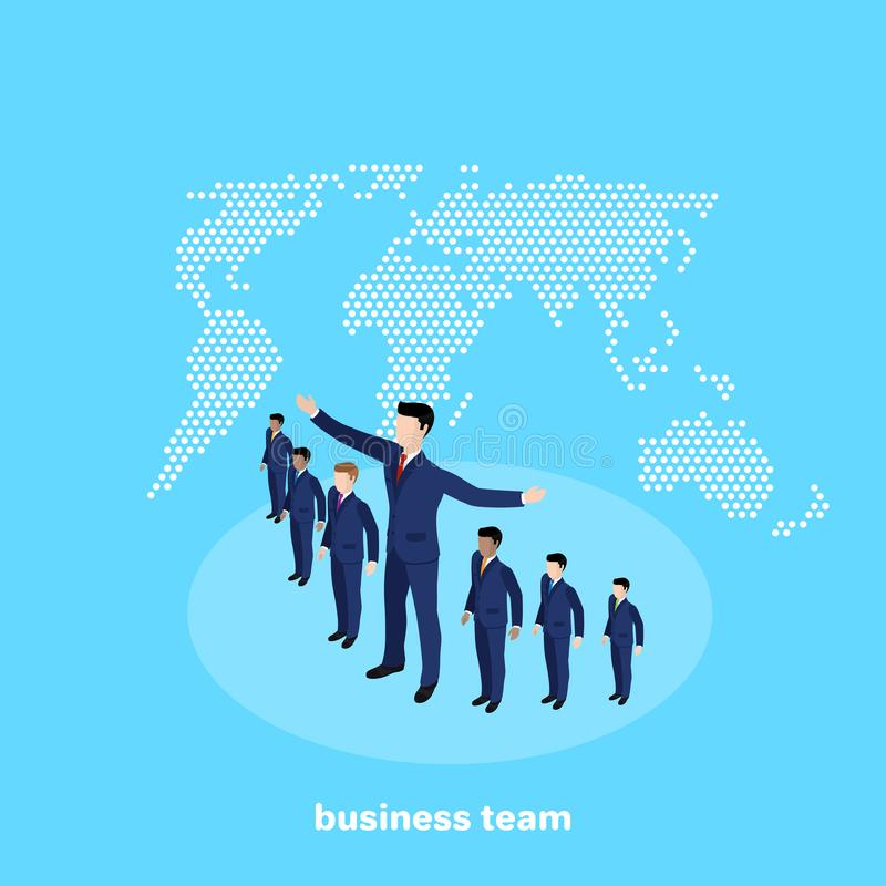 Managers in business suits on a blue background. Isometric image royalty free illustration