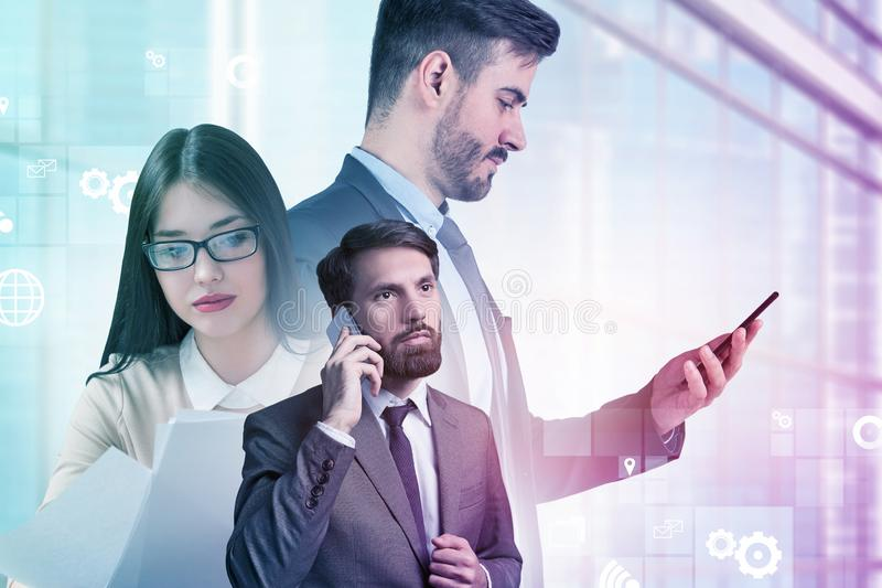 Managers in city, business interface royalty free stock photography