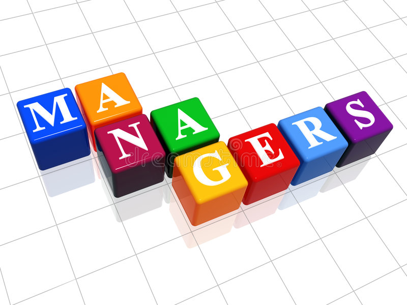 Managers in colour 2. 3d colour boxes with text - managers, word vector illustration
