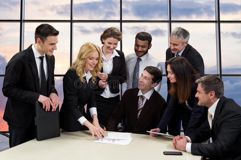 Managers of the company to discuss of business project. royalty free stock photos