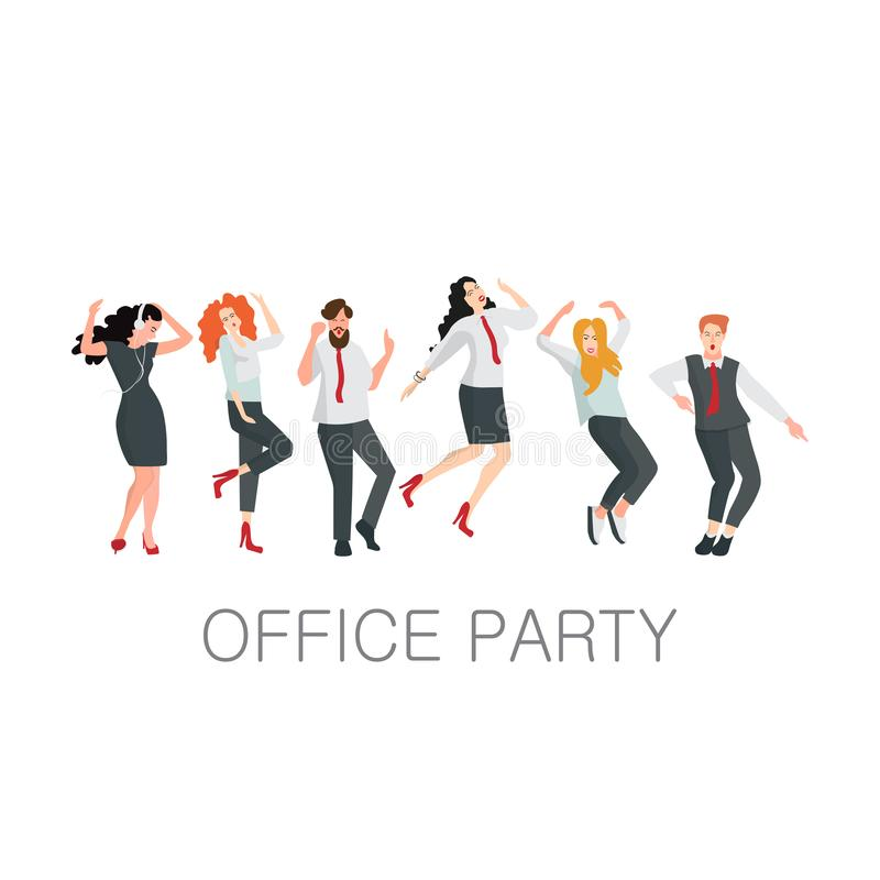 Managers dance at an office party. Corporate events or a holiday in the office. People in office clothes. Vector illustration vector illustration