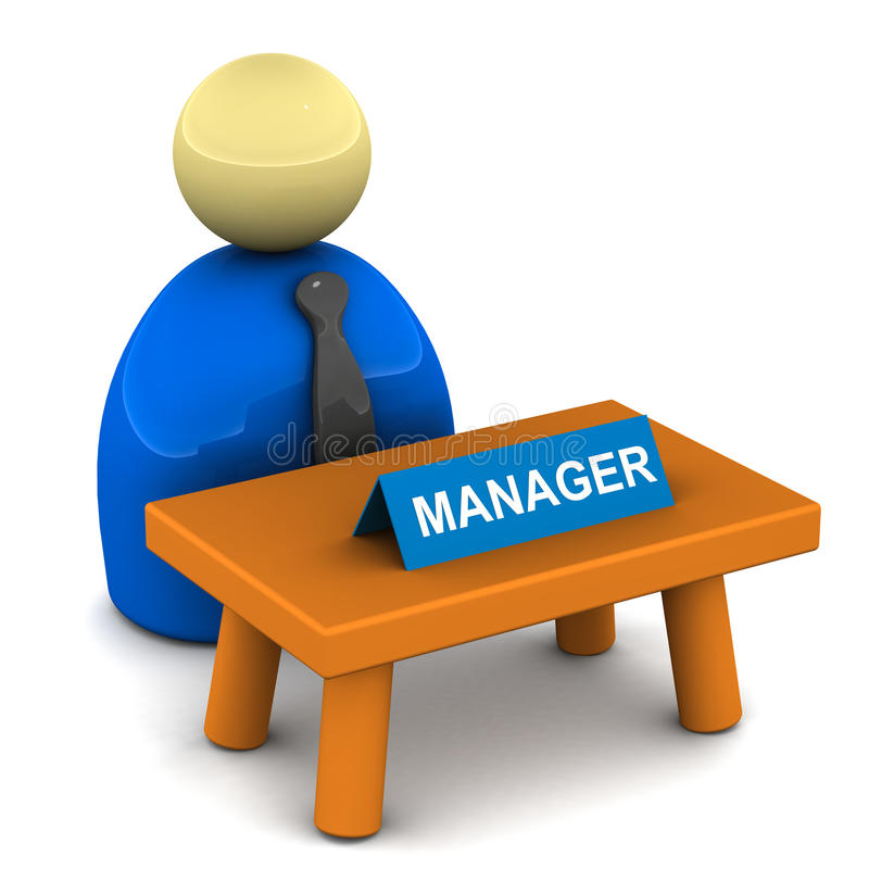 Managers desk. A manager at his desk, managers desk on white background vector illustration