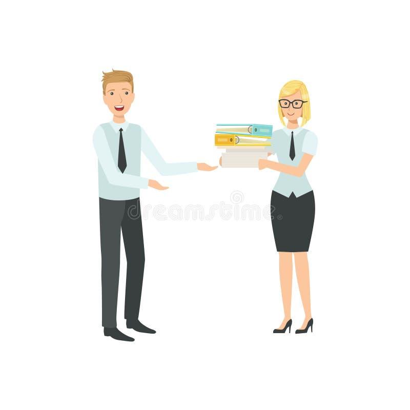 Managers die de Illustratie van het Dossiersgroepswerk delen vector illustratie