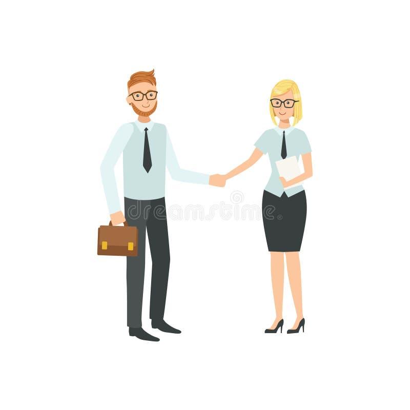 Managers die en de Illustratie van het Handengroepswerk goedkeuren schudden vector illustratie