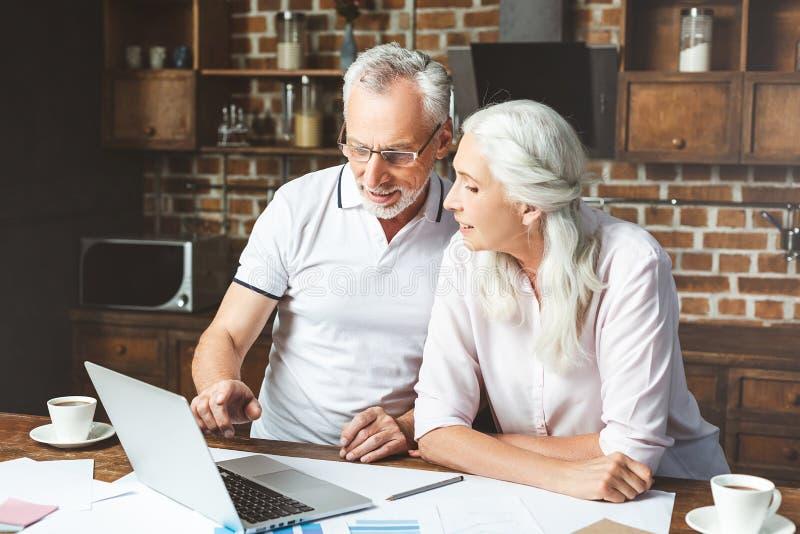 Managers die laptop computer met behulp van stock afbeelding