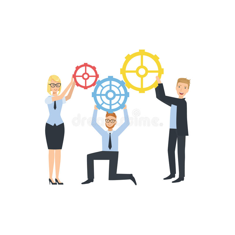 Managers Holding Connecting Gears Teamwork Illustration royalty free illustration