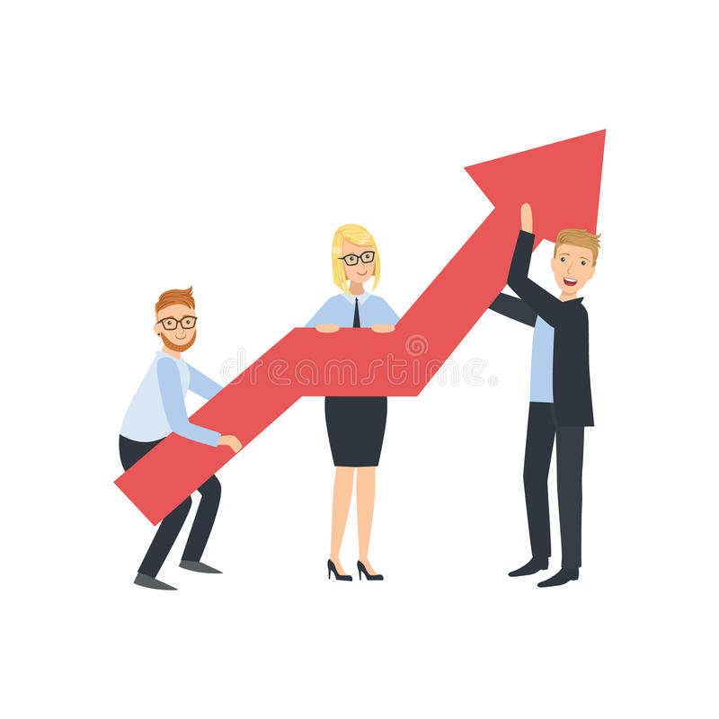 Managers Holing Arrow Showing Growth Teamwork Illustration vector illustration